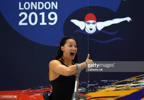 Alice Tai of Great Britain celebrates after the Women's 400m Freestyle S8 heats on Day Four of the London 2019 World Para-swimming Allianz...