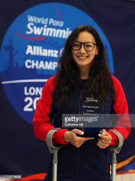 Alice Tai of Great Britain with her Overall Best Female award on Day Four of the London 2019 World Para-swimming Allianz Championships at Aquatics...