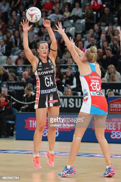 Alice TeagueNeeld of the Magpies looks to pass during the round 12 Super Netball match between the Magpies and the Swifts at Hisense Arena on May 13...