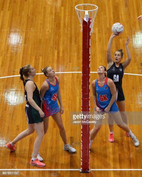 Alice TeagueNeeld of the Magpies shoots for goal during the round six ANL match between the Netball NSW Waratahs and the Tasmanian Magpies at Sydney...