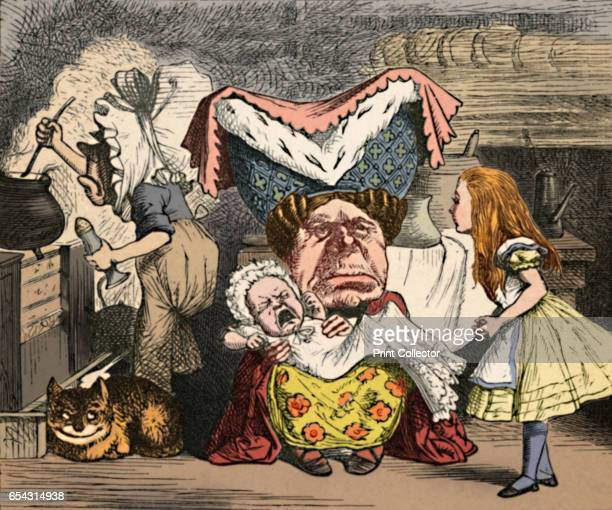 Alice, the Duchess, and the Baby, 1889. Lewis Carrolls Alice in Wonderland as illustrated by John Tenniel . From Alices Adventures in Wonderland by...