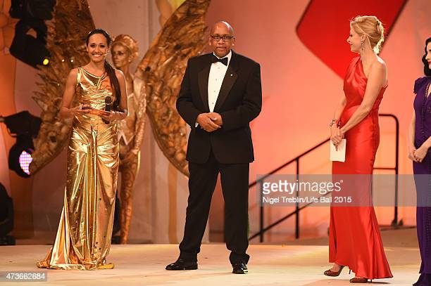 Alice Tumler Prince Seeiso of Lesotho Nadja Swarovski and Dita von Teese on stage during the Life Ball 2015 show at City Hall on May 16 2015 in...