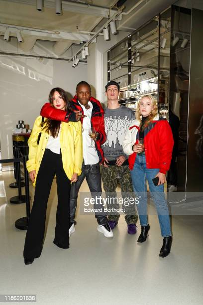Alice Vaillant Francksinner Youthofparis Emman are seen during Moncler House Of Genius Paris Opening Event at Galeries Lafayette ChampsElysees on...