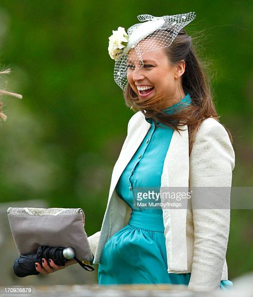Alice van Cutsem attends the wedding of William van Cutsem and Rosie Ruck Keene at the church of St Mary the Virgin in Ewelme on May 11 2013 near...