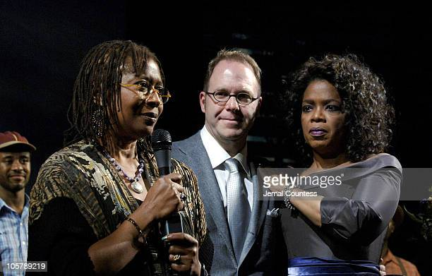 Alice Walker author of the book 'The Color Purple' Scott Sanders producer of 'The Color Purple' and Oprah Winfrey
