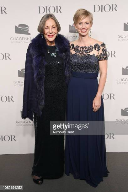 Alice Walton and Mindy N Besaw attend the Guggenheim International Gala Dinner made possible by Dior at Solomon R Guggenheim Museum on November 15...