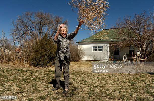 Alice Webb tosses tumbleweeds from her front yard in Karval Monday March 31 2014 I've lived through the Great Depression the drought in the 1950s but...