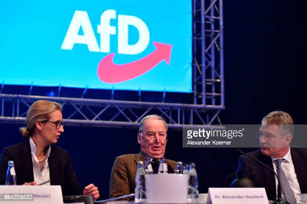 Alice Weidel Alexander Gauland and Joerg Meuthen of the rightwing Alternative for Germany speak during the AfD federal congress at the Hannover...