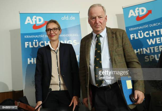 Alice Weidel and Alexander Gauland colead candidates of the rightwing populist Alternative for Germany political party departs after speaking to the...