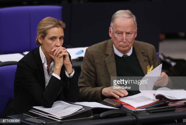 Alice Weidel and Alexander Gauland of the rightwing Alternative for Germany political party attend a Bundestag session on November 22 2017 in Berlin...