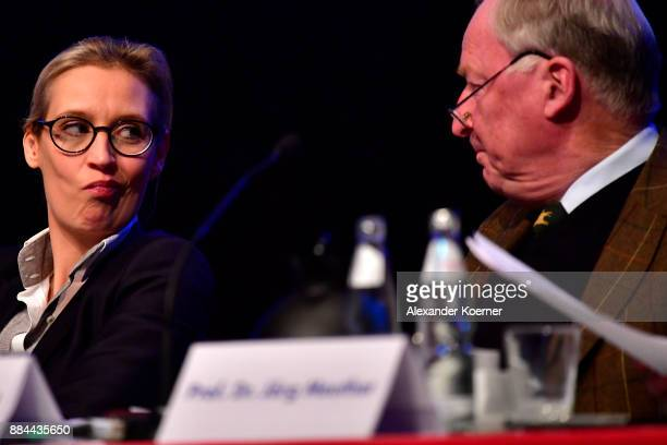 Alice Weidel and Alexander Gauland of the rightwing Alternative for Germany speak during the AfD federal congress at the Hannover Congress Centrum on...