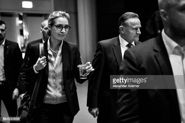 Alice Weidel and Georg Pazderski of the rightwing Alternative for Germany walk by after the withdrawal of Pazderski from the election as cochairman...