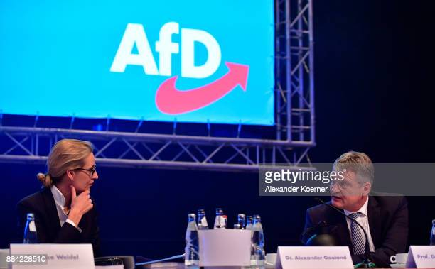 Alice Weidel and Joerg Meuthen of the rightwing Alternative for Germany speak during the AfD federal congress at the Hannover Congress Centrum on...