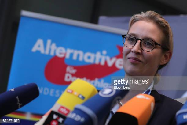 Alice Weidel candidate for Alternative for Germany party listens to a question during a news conference in Berlin Germany on Tuesday Sept 26 2017 AfD...
