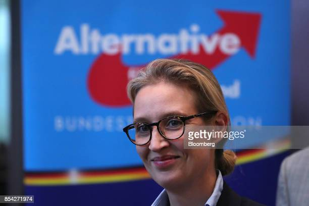 Alice Weidel candidate for Alternative for Germany party smiles during a news conference in Berlin Germany on Tuesday Sept 26 2017 AfD the populist...