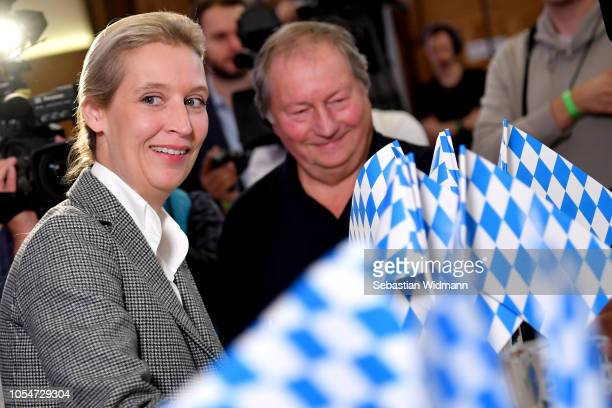 Alice Weidel coBundestag faction leader of the rightwing Alternative for Germany political party speaks to supporters and the media as they wait for...
