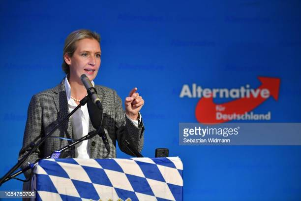 Alice Weidel coBundestag faction leader of the rightwing Alternative for Germany political party speaks to supporters after initial election results...