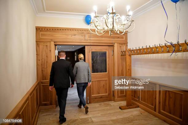 Alice Weidel coBundestag faction leader of the rightwing Alternative for Germany political party leaves the celebrations after initial election...