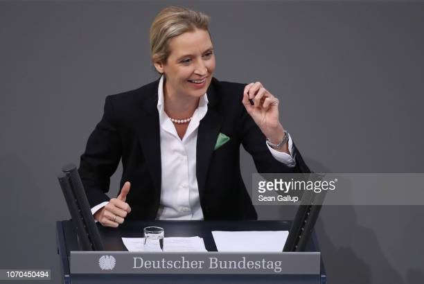 Alice Weidel, co-Bundestag faction leader of the right-wing Alternative for Germany political party, speaks during debates over the next federal...