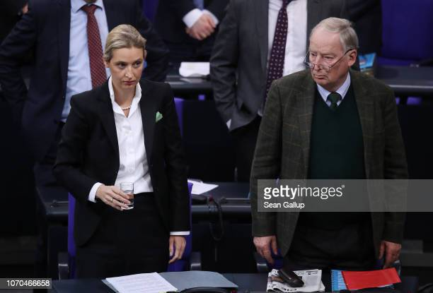 Alice Weidel coBundestag faction leader of the rightwing Alternative for Germany political party and AfD coBundestag faction leader Alexander Gauland...