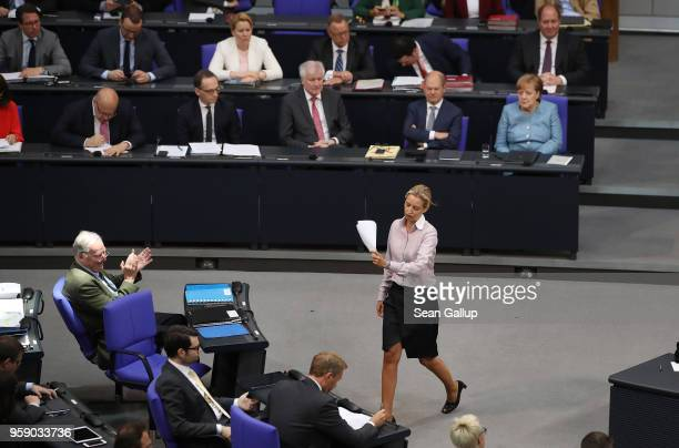 Alice Weidel coBundestag faction leader of the rightwing Alternative for Germany receives applause from her colleague colead AfD Bundestag faction...