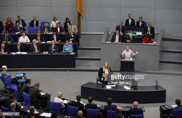 Alice Weidel coBundestag faction leader of the rightwing Alternative for Germany speaks in a fiery address of the Bundestag as German Chancellor and...