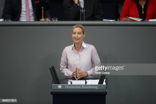 Alice Weidel coBundestag faction leader of the rightwing Alternative for Germany speaks in a fiery address at the Bundestag during debates over the...