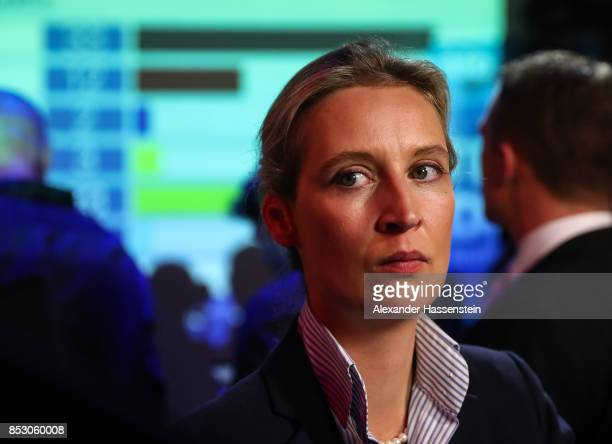 Alice Weidel colead candidate of the Alternative for Germany gives an interview after the announcement of the initial results that give the party...