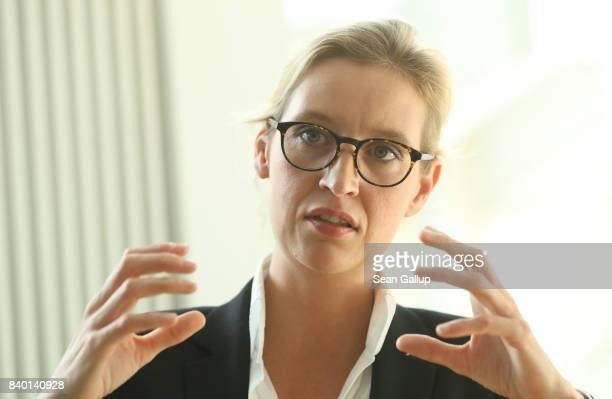 Alice Weidel colead candidate of the rightwing populist Alternative for Germany political party speaks to members of the Foreign Journalists'...