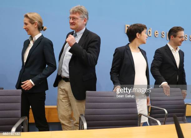 Alice Weidel Joerg Meuthen Frauke Petry and Marcus Pretzell who are leading members of the populist Alternative for Germany political party arrive to...