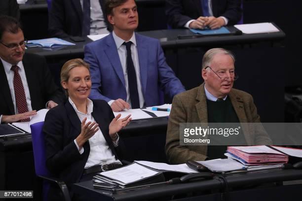 Alice Weidel leader of Alternative for Germany left and Alexander Gauland deputy leader of Alternative for Germany look on inside the lowerhouse of...