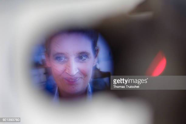 Alice Weidel leader of the AfD Bundestag faction speaks to the media before a faction meeting at Bundestag on February 20 2018 in Berlin Germany