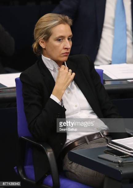 Alice Weidel of the rightwing Alternative for Germany political party attends a Bundestag session on November 22 2017 in Berlin Germany The AfD which...