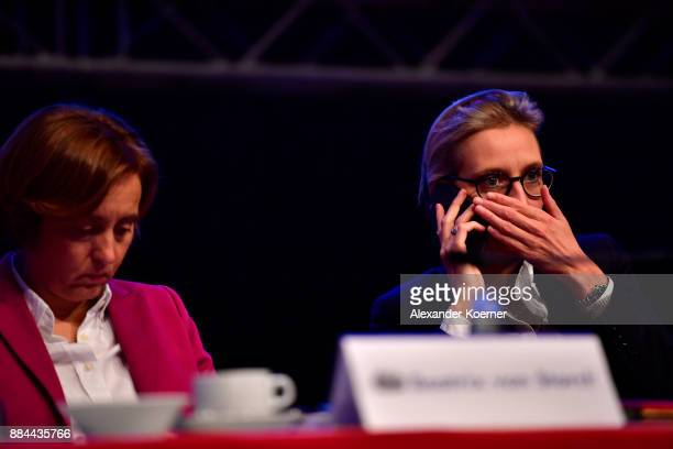 Alice Weidel of the rightwing Alternative for Germany speaks on the phone during the AfD federal congress at the Hannover Congress Centrum on...