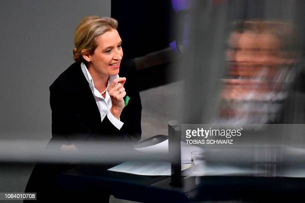Alice Weidel parliamentary group coleader of the farright antiimmigration AfD party gives a speech during a debate on the budget at the Bundestag the...