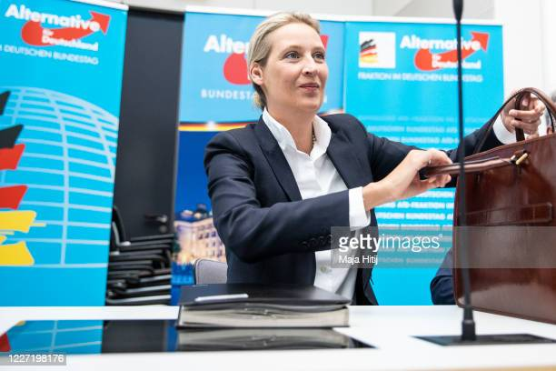 Alice Weidel the one of two coheads of the Bundestag faction of the rightwing Alternative for Germany political party arrive for a meeting of the AfD...