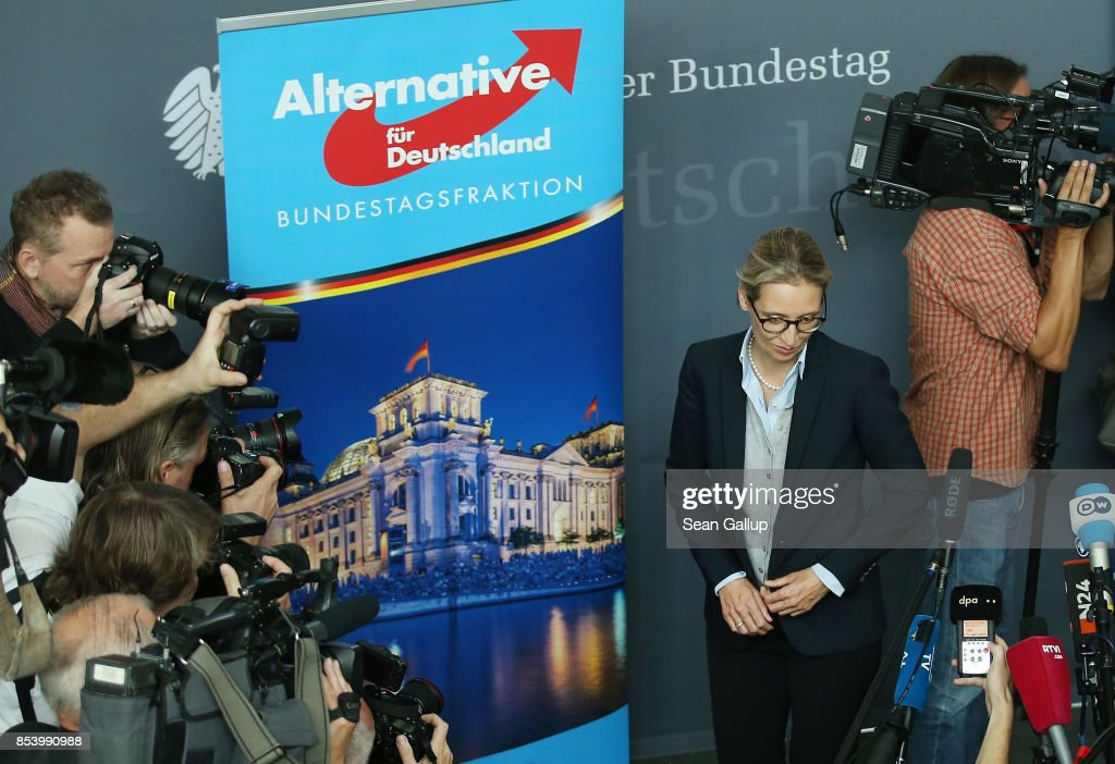 Alice Weidel, who along with Alexander Gauland will lead the new Bundestag faction of the right-wing Alternative for Germany (AfD), arrives to speak to the media before meeting with party members to create the AfD Bundestag faction on September 26, 2017 in Berlin, Germany. The AfD came in third place with 12.6%, which gives it 94 seats in the Bundestag, the German parliament. One seat will however go to Frauke Petry, a leading AfD member from Saxony who in a surprise move announced yesterday that she will not join the AfD faction and instead serve as an independent.