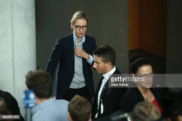 Alice Weidel who along with Alexander Gauland will lead the new Bundestag faction of the rightwing Alternative for Germany arrives to speak to the...