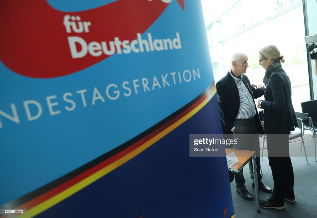 Alice Weidel, who along with Alexander Gauland will lead the new Bundestag faction of the right-wing Alternative for Germany (AfD), speaks with fellow AfD member Albrecht Glaser before a meeting of AfD party members to create the AfD Bundestag faction on September 26, 2017 in Berlin, Germany. The AfD came in third place with 12.6%, which gives it 94 seats in the Bundestag, the German parliament. One seat will however go to Frauke Petry, a leading AfD member from Saxony who in a surprise move announced yesterday that she will not join the AfD faction and instead serve as an independent.