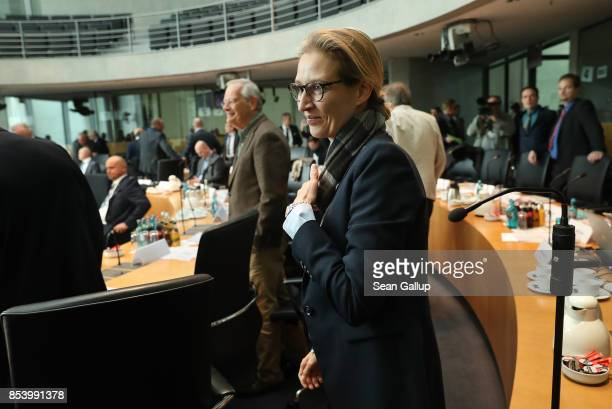 Alice Weidel who along with Alexander Gauland will lead the new Bundestag faction of the rightwing Alternative for Germany arrives for a meeting of...
