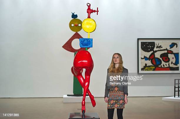 Alice Wild admires Jeune fille s evandant by Joan Miro in the Yorkshire Sculpture park gallery on March 14 2012 in Wakefield England Yorkshire...