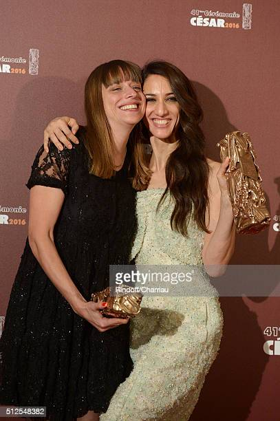 Alice Winocour and Deniz Gamze Erguven pose with their awards of Best Script and Best First Feature for the movie 'Mustang' during The Cesar Film...