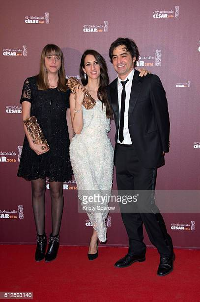 Alice Winocour Deniz Gamze Erguven and Charles Gillibert pose with their award for Best Script and Best Feature Film for the movie 'Mustang' during...