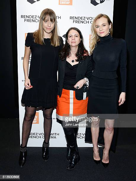 Alice Winocour Florence Almozini and Diane Kruger attend 'Disorder' 2016 RendezVous with French Cinema at Furman Gallery on March 5 2016 in New York...