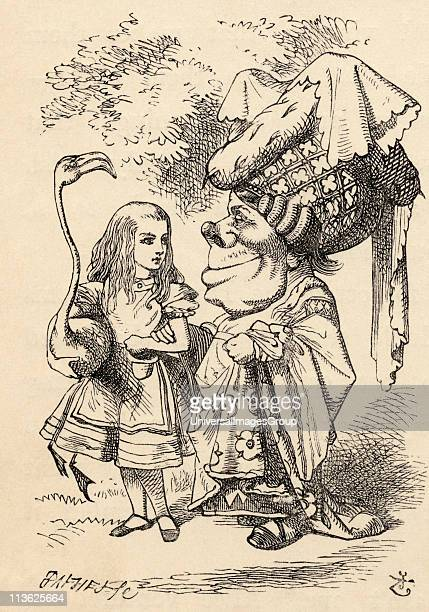 Alice with flamingo chats with the Duchess Illustration by John Tenniel from the book Alices's Adventures in Wonderland by Lewis Carroll published...