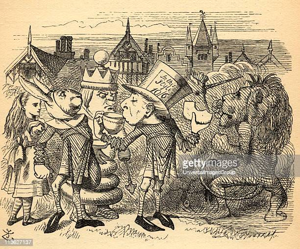Alice with HattaIllustration by Sir John Tenniel 18201914 From the book 'Through the LookingGlass and What Alice Found There' by Lewis Carroll...