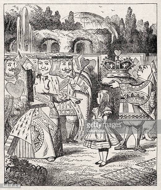 Alice with the King and Queen of Hearts Off with her head from Alice in Wonderland by Lewis Carroll English childrens writer and mathematician 27...