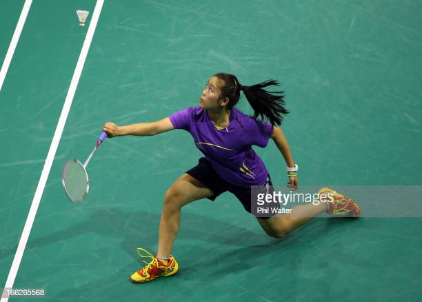 Alice Wu of Australia play a backhand in her Womens Singles match against Renna Suwarno of Indonesia during day two of the New Zealand Badminton Open...
