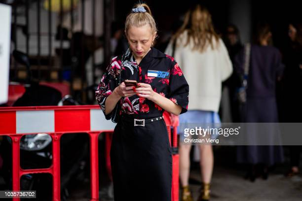 Alice Zielasko is seen outside Natasha Zinko during London Fashion Week September 2018 on September 18 2018 in London England