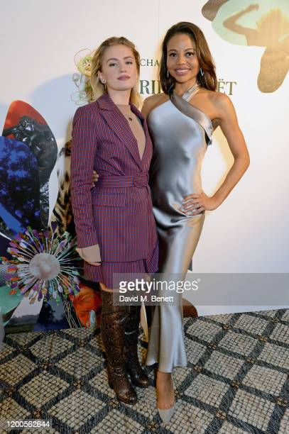 Alicia Agneson and Emma Weymouth attend the launch of the inaugural 'PerrierJouet Artisans of the Wild' magazine at Alex Eagle Studio on February 13...